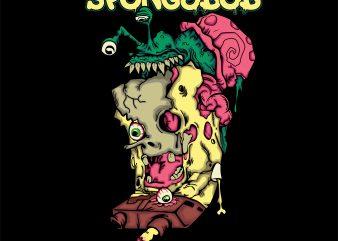 zombie spongebob angry gary ready made tshirt design