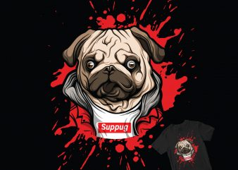 supug pug dog pop t shirt design for purchase