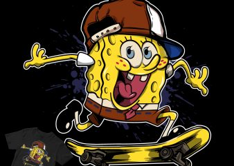 the skate spongebob squarepants t shirt design template