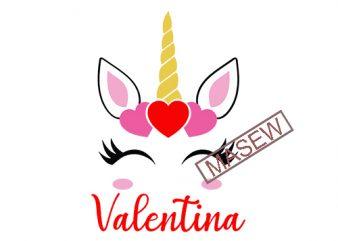 Valentines Unicorn SVG, Valentine's svg, Girl's Valentine Download, Monogram SVG, EPS png, dxf, Toddler Valentine's Design, Baby Valentines digital download buy t shirt design for commercial use