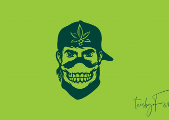 Gangster with weed cap commercial use t-shirt design