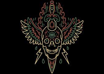 winged skull tshirt design