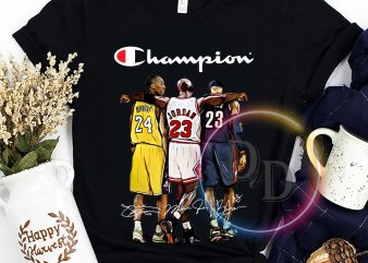 Champion Kobe Jordan Lebron Legend Basketball T shirt t shirt design for purchase