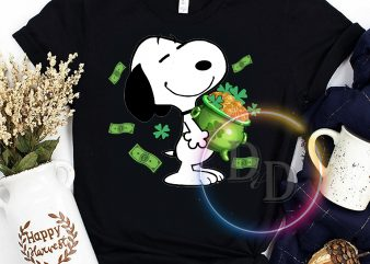 St Patrick's day Snoopy dog money Clover lucky Tshirt ready made tshirt design