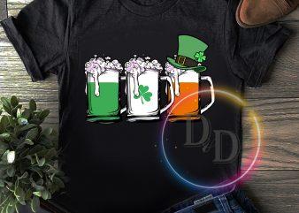 Beer Irish Flag Clover St Patrick's day Drinking design for t shirt