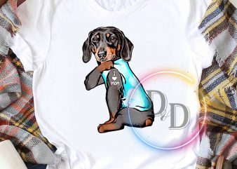 Dachshund Dog Tattoo I Love mom Dogmom mother's day graphic t-shirt design