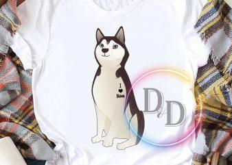 Husky Dog Tattoo I Love mom Dogmom mother's day graphic t-shirt design