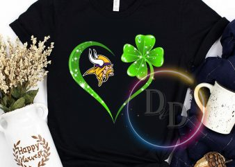Minnesota Vikings Football club Love heart Clover Patrick's day t shirt design for purchase