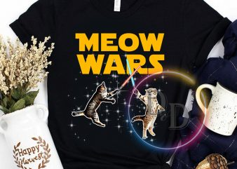 Meow Wars Galaxy Funny commercial use t-shirt design