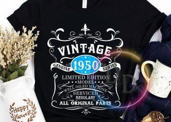 Vintage 1950 Birthday Limited edition model graphic t-shirt design