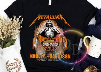 Metallick Harley Davidson Motor Skeleton Rider t shirt design for download