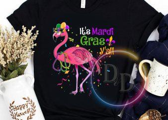Flamingo Mardi Gras Mask & Beads-It's Mardi Gras Y'all Funny buy t shirt design artwork