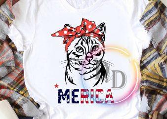 Cat merica 4th of july america flag T shirt buy t shirt design