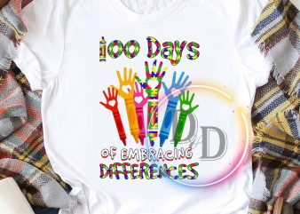 100 days of embracing differences t shirt autism awareness commercial use t-shirt design