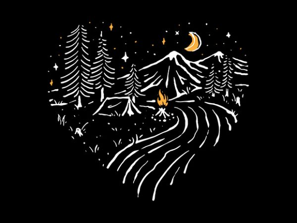 Camping in Love t shirt design for purchase