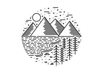 Mountain Lake and Tree t shirt design template