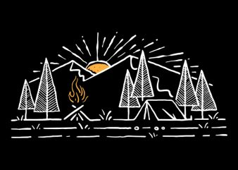 Camp Lines t shirt design for download