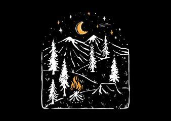 Camp Night graphic t-shirt design