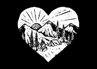 I Love Camping t shirt design for download
