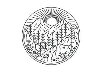 Nature Line design for t shirt