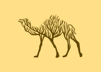 Camel animal silhouette from Tree vector t shirt design for sale