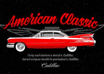 American Classic Cadillac Car Vintage PNG Transparent Background buy t shirt design