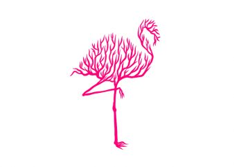 flamingo animal silhouette from Tree vector t shirt design for sale