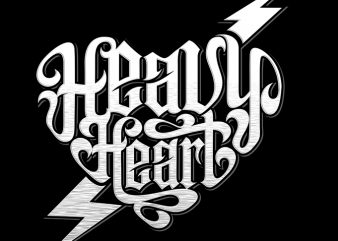 HEAVY HEART buy t shirt design for commercial use