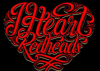 I heart redheads t shirt design for download