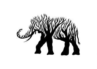 elephant animal silhouette from Tree vector t shirt design for sale