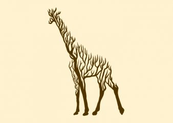 giraffe animal silhouette from tree vector t shirt design for sale
