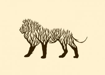 Lion animal silhouette from tree vector t shirt design for sale