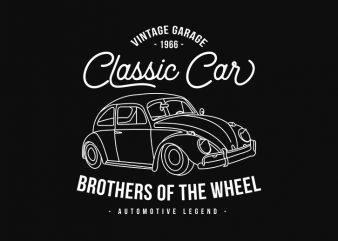 Classic Car VW Volkswagen, Retro, Vintage Car Garage commercial use t-shirt design
