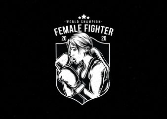 Fimale Fighter Gym vector Tshirt design