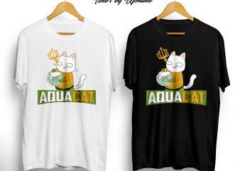 AquaCat buy graphic t shirt design artwork