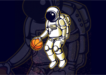 Astronaut and Basketball buy t shirt design