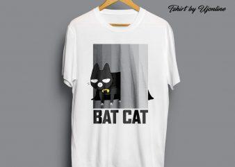 BATCAT Vector graphic commercial use t-shirt design