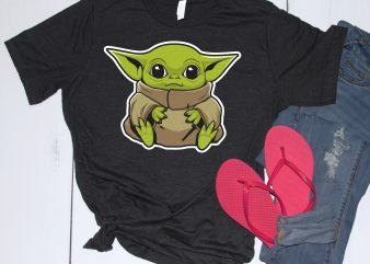 Baby Yoda Illustration design for t shirt commercial use t-shirt design
