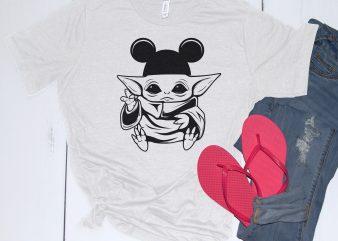 Baby Yoda Mickey Hat design for t shirt
