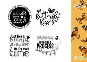Butterfly Quotes Bundle SVG – commercial use