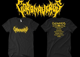 CORONA VIRUS DEATH METAL world Tour graphic t-shirt design