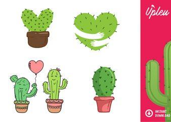 Cactus Heart Bundle SVG – Love – commercial use t shirt vector file