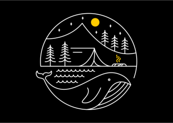 Camping on a Whale t shirt design template