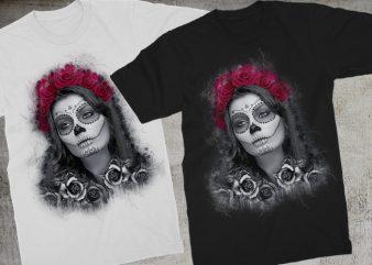 Catrina Calavera Roses t-shirt design for sale