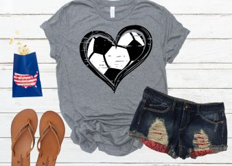 Distressed Soccer Hearted Ball t shirt design template