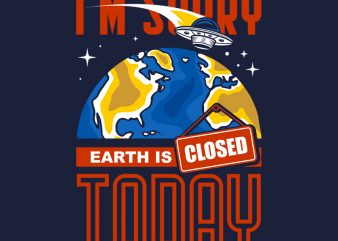 EARTH CLOSED t shirt design template