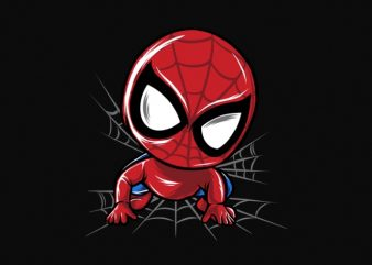 baby spiderman cartoon chibi anime png file transparent background ready to print or dtg t shirt design for sale