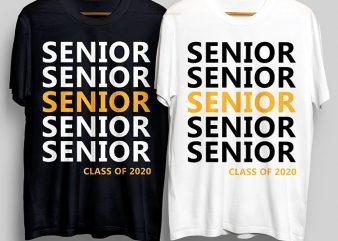 Senior Senior Class Of 2020 T-Shirt Design for Commercial Use