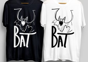 Hallowen Bat T-Shirt Design for Commercial Use