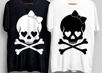 Beauty Heart Skull T-Shirt Design for Commercial Use